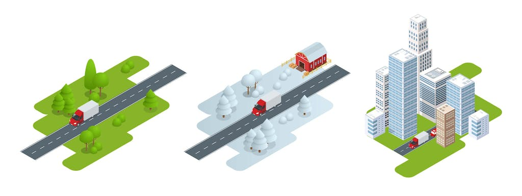 Illustration depicting 3 different types of truck driving conditions